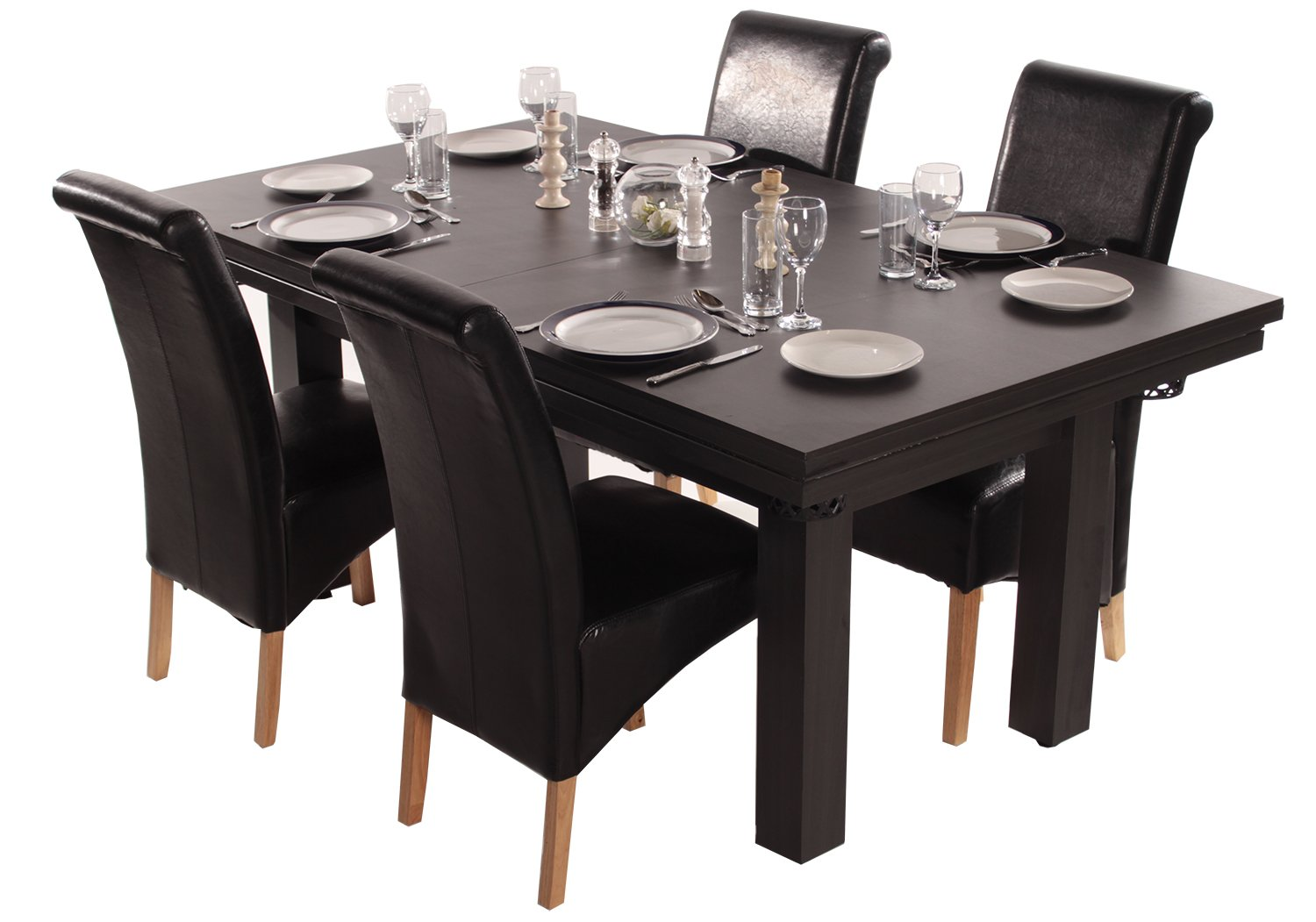The Amalfi Black Pool Dining Table Red Cloth Amazoncouk