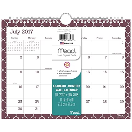 amazon com mead academic monthly wall calendar july 2017 june