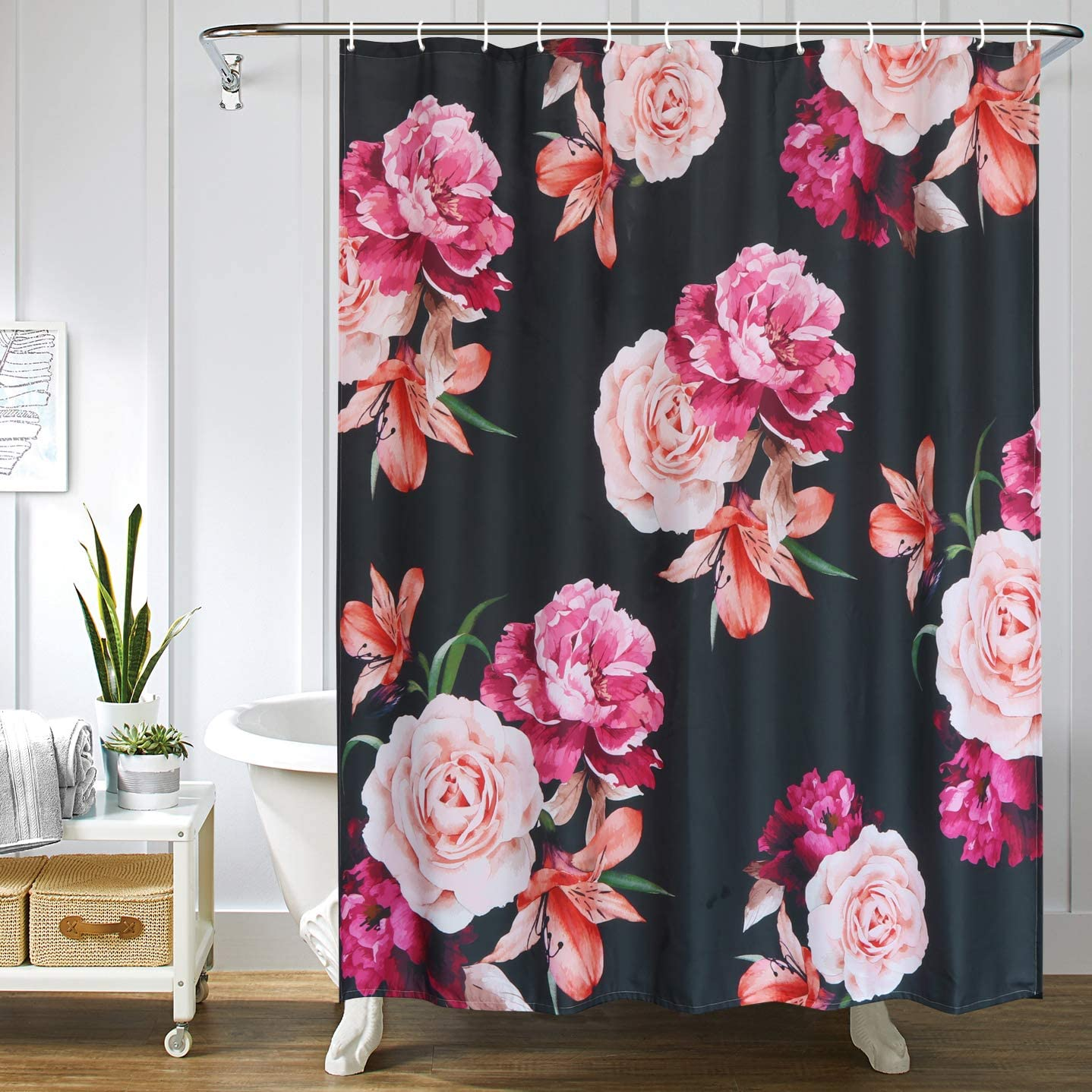 Uphome Floral Fabric Shower Curtain, Black and Purple Shabby Chic Rose Flower Cloth Shower Curtain 180 GSM Thick Waterproof Pastel Spring Penny Bathroom Curtains for Shower with Hooks Set, 72X72