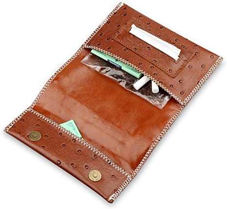Leather Tobacco Pouch with Paper Slot