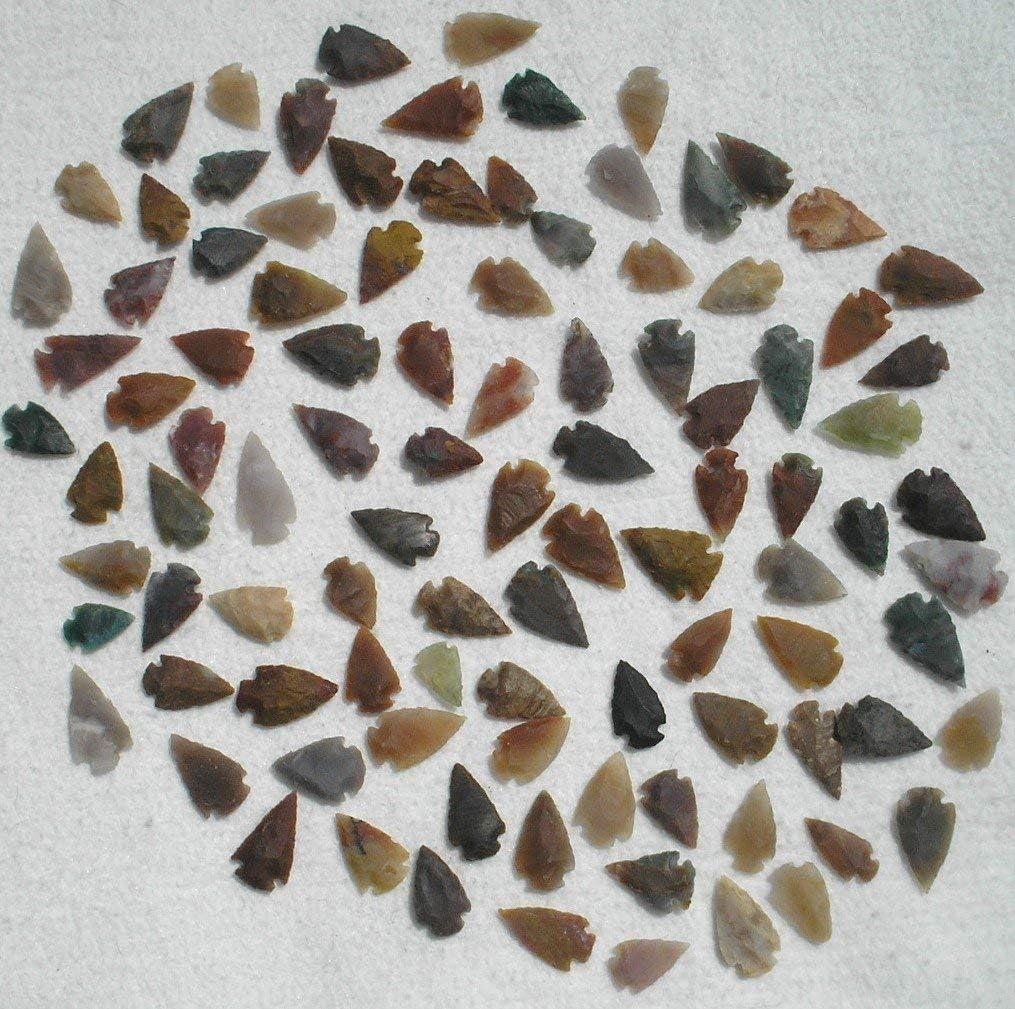 "Set Of 100 Arrowheads Agate New Replica 1/2"" - 1 1/2"" L"