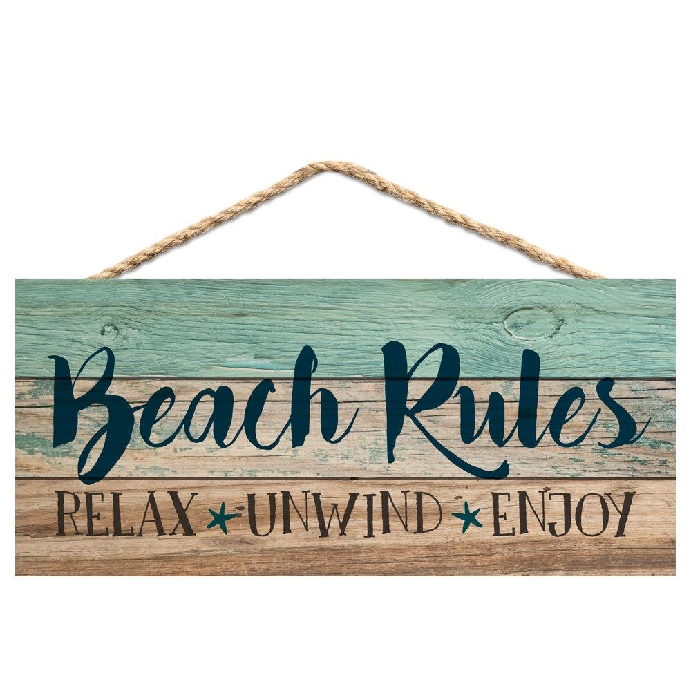 Beach Rules Relax Unwind Enjoy Weathered 5 x 10 Wood Plank Design Hanging Sign