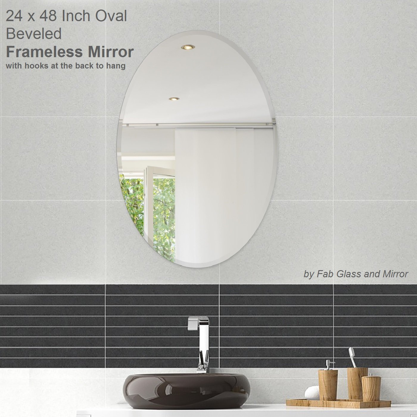Amazon fab glass and mirror oval beveled polish frameless amazon fab glass and mirror oval beveled polish frameless wall mirror with hooks 24 l x 36 w home kitchen amipublicfo Images