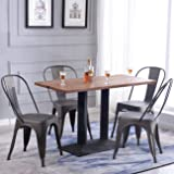 Belleze Industrial Stackable Dining Bistro Style Side Chair, Set of (4) Bronze