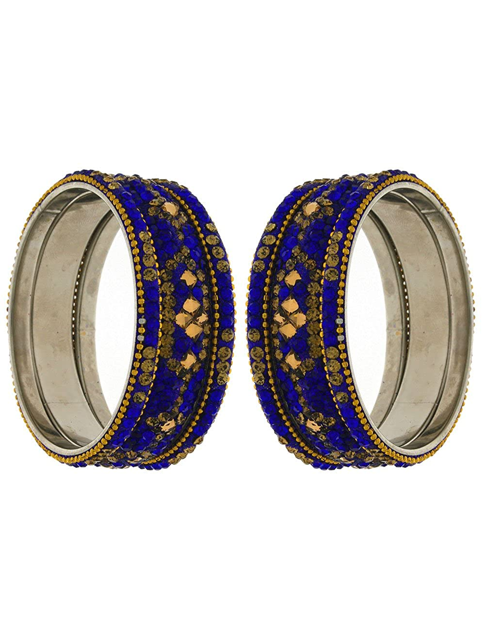 Anuradha Art Blue Finish Studded Shimmering Stone Classy Ethnic Bangles Set for Women//Girls