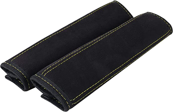 L /& P A135/Furniture Set of 2/Seatbelt Cover Seat Belt Pad In Black With Yellow Stitching
