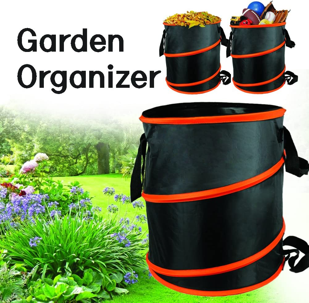 16.4 x 15.5 The Elixir Deco 10 gallon Gardening Bag Pop Up Collapsible Yard//Lawn Leaf Refuse Bag Container Black//Orange