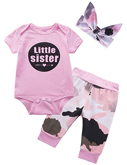 4965b4903cc Baby Girls  Little Sister 3PCS Outfit Set Short Sleeve Bodysuit Camouflage  Pants Headband (0