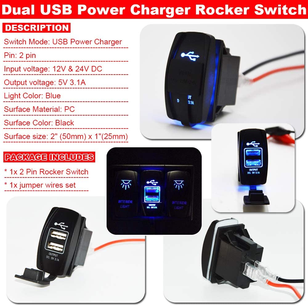 "OUTPUT 5V 3.1A USB Power Charger+/""INTERIOR LIGHT/"" UTV Dash Rocker Toggle Switch"