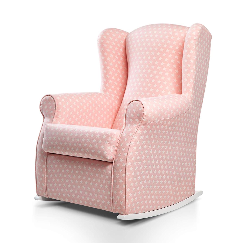 SUENOSZZZ-ESPECIALISTAS DEL DESCANSO Olivia Sillon tapizado, sillón Lactancia Materna. Sillon tapizado en Tela Estampada Color Rosa, Estrellas ...