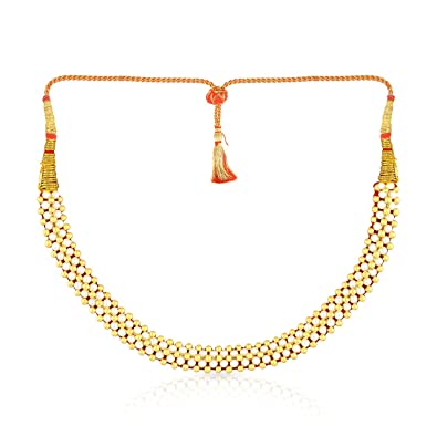 6e1105d9f4951 Malabar Gold and Diamonds Tushi Collection 22k (916) Yellow Gold and  Synthetic Pearl Choker Necklace for Women