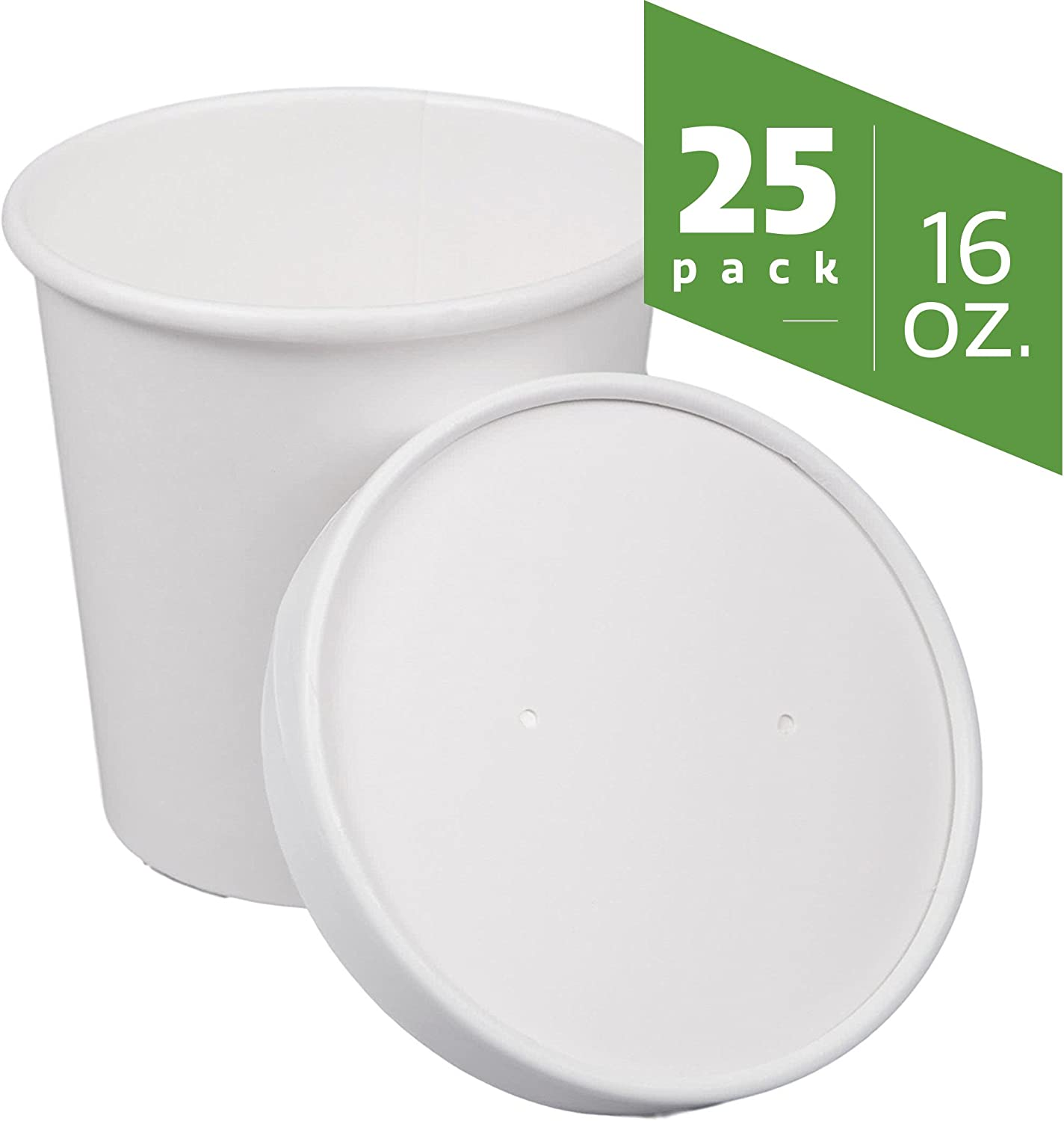 Paper Hot//Cold Soup Cups with Lids Belinlen 40 Set 12 Ounce Paper Ice Cream Cups with Paper Lids White