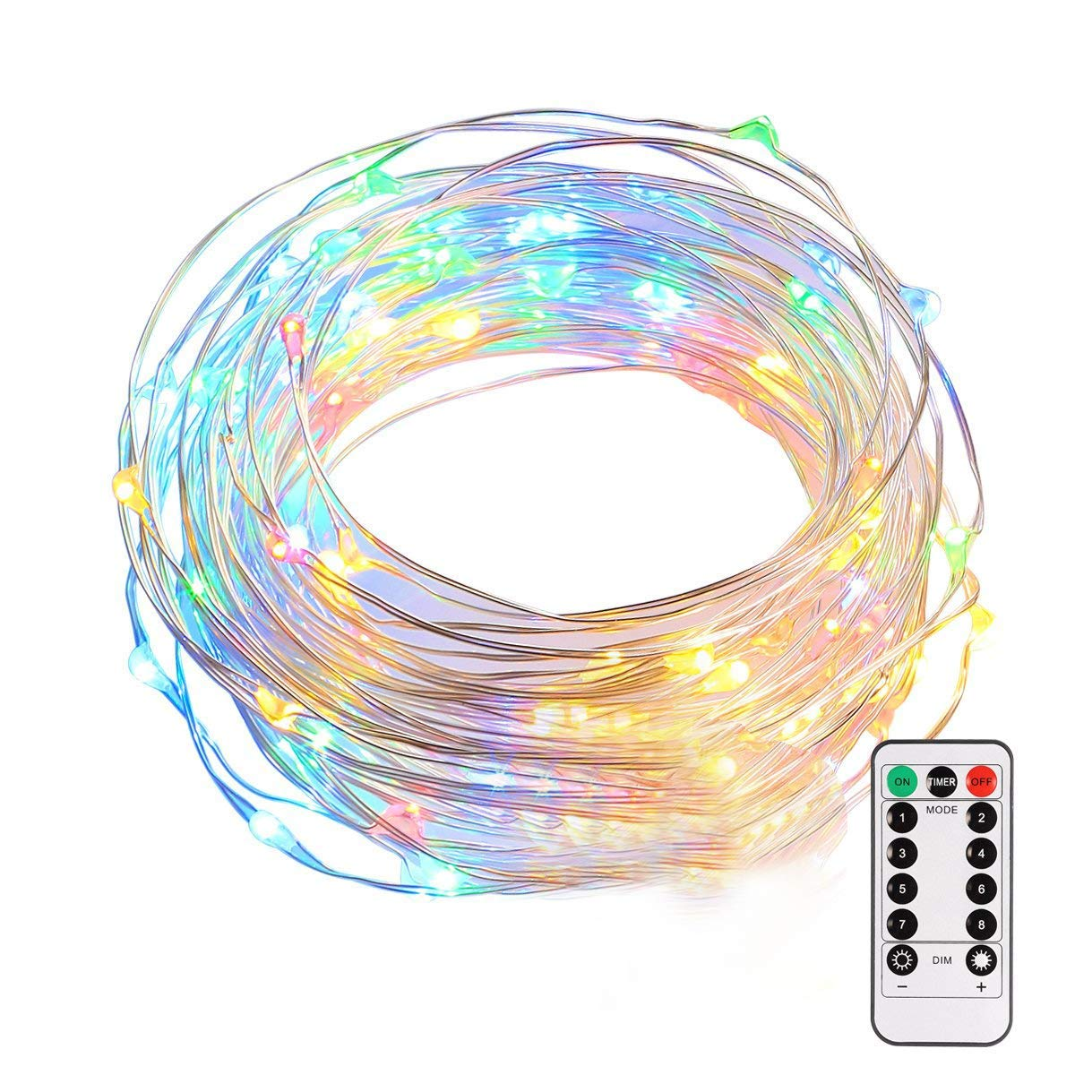 LED Fairy String Lights Battery Operated B right 34ft 100 LEDs 8 Modes Timer Copper Wire Lights Waterproof Festival Decorative Starry String Lights with Remote for Indoor Outdoor Garden Patio Bedroom