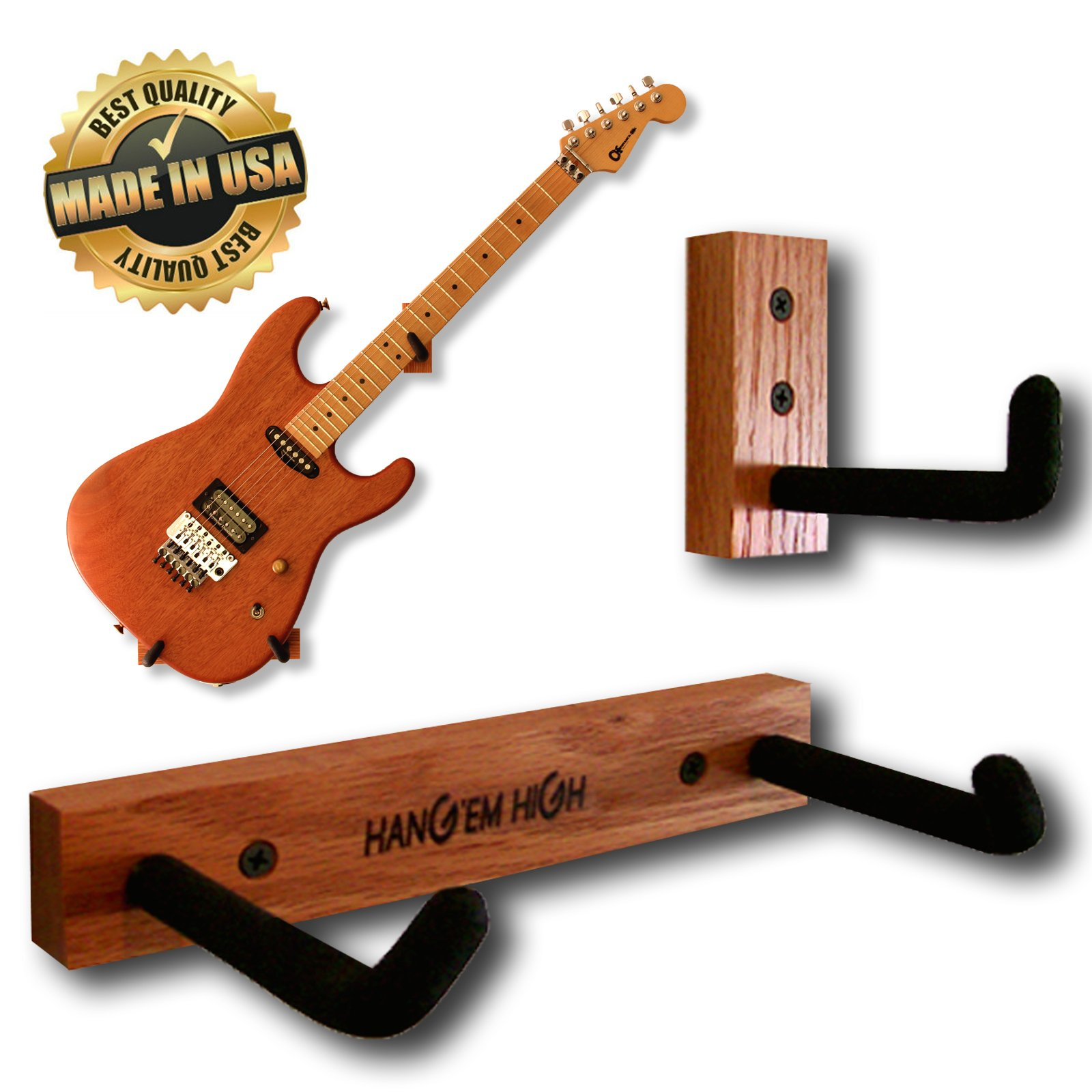 Angled Guitar Wall Hanger Display for Electric and Thin Body Guitars- Classic Finish by Hang'em High Guitar Hangers (Image #1)