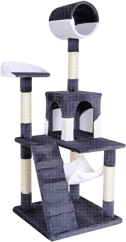 dibea Árbol rascador árbol para escalar árbol rascador para gatos Altura 133 cm gris/blanco