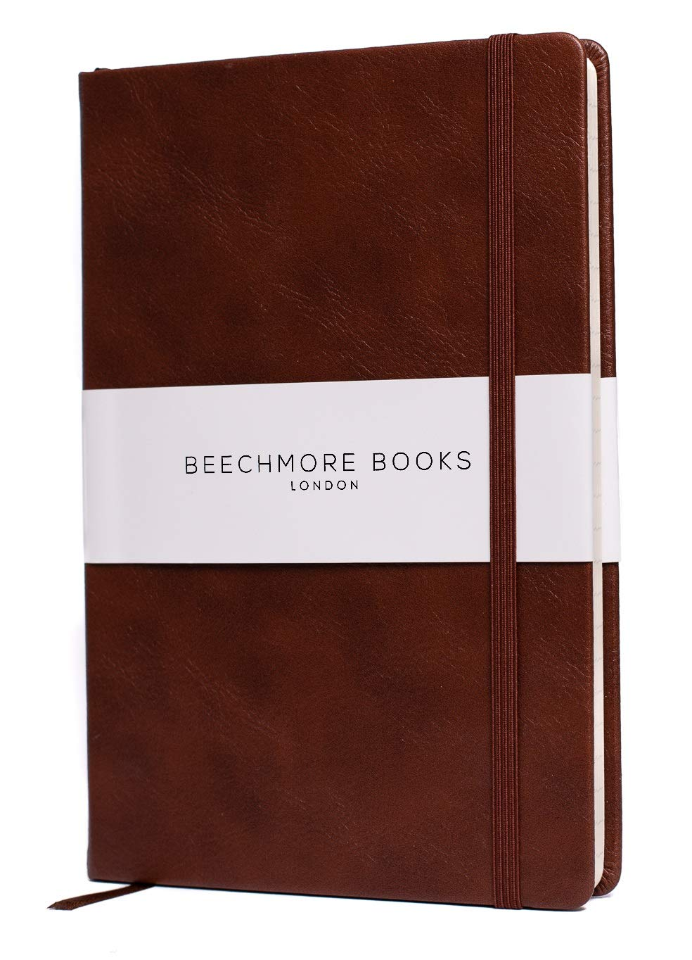 Ruled Notebook - Premium British A5 Journal by Beechmore Books   Hardcover Vegan Leather, Thick 120gsm Cream Paper, Professional Lined Notebook in Gift Box (Chestnut Brown) by Beechmore Books