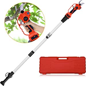 Cordless Electric Pruning Shears, Tree Branch Pruner Lithium Battery Powered, with 6.2 Foot High Reach Extension Pole, 30MM (1.2 Inch) Cutting Diameter, LED Display Screen