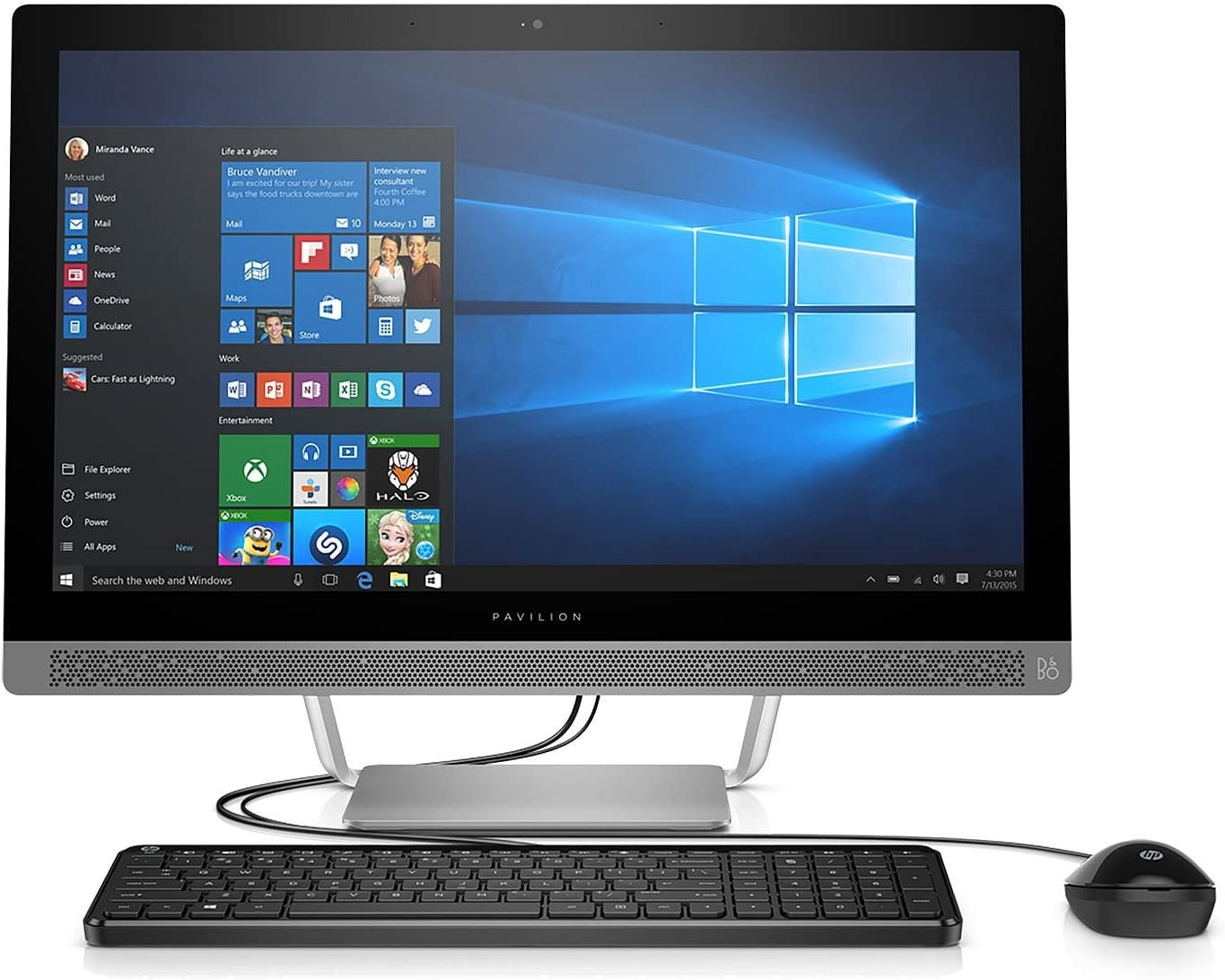 "2017 HP Pavilion Full HD IPS 27"" Touchscreen All-in-One Desktop, Quad Core Intel i7-6700T 2.8 GHz, 16GB DDR4 RAM, 1TB 7200RPM HDD, Dedicated Graphics 2GB GDDR5, DVD, Bluetooth, HDMI, 802.11AC, Win10"