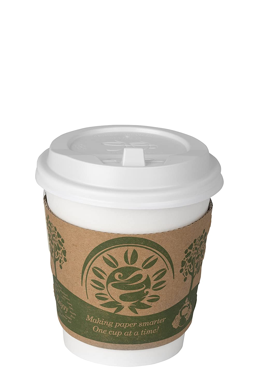 COMFY PACKAGE 50 set White Paper Hot Cups with White Dome Lids and Cup Sleeves (10 oz. squat)