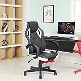 FurnitureR Silla de oficina Silla de juego de cuero para silla de ruedas, Silla de carreras ergonómica ajustable con respaldo