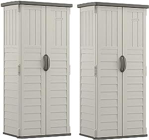 Suncast 22 Cubic Feet Resin Versatile Vertical Storage Shed Building (2 Pack)