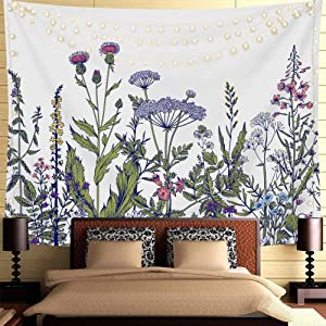 Nobranded Colorful Floral Plants Tapestry Vintage Herbs Wild Flowers Tapestry Wall Hanging Botanical Nature Scenery Aesthetic Tapestries for Bedroom Dorm Decor, 59x78