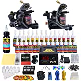 Solong Tattoo Complete Tattoo Kit 2 Pro Machine Guns 28 Inks Power Supply Foot Pedal Needles Grips Tips TK224