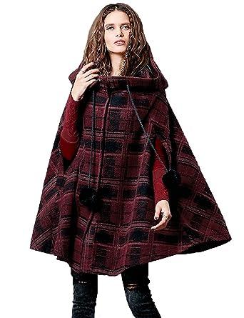 5e543a8a4 Artka Women's Winter Vintage Hoodie Cape Casual Plaid Wool Coat Multicolored