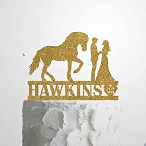 Personalized Wedding Cake Topper Gold Glitter, Custom Horse Lover Wedding Couple Pet Cake Topper, Personalized Animal Wedding Mr & Mrs Topper with Horse, Horse Theme Party Pet Topper, Food-Safe, Wood, 6 Inch