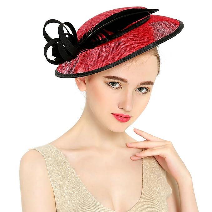 KAXIDY Cappelli da Cerimonia Cappello Copricapo Cerimonia Donna per Sposa  Capelli Fiore Organza con Piuma (Rosso)  Amazon.it  Abbigliamento 0a5038db2e8c