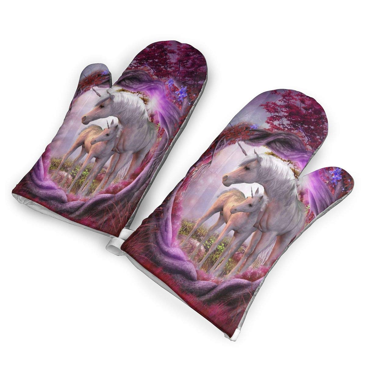 Feederm Unicorn Horse Magical Animal Rose Red Tree Oven Mitts,Professional Heat Resistant Microwave Oven Insulation Thickening Gloves Baking Pot Mittens Soft Inner Lining Kitchen Cooking