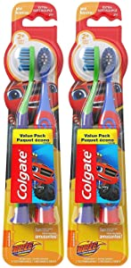 Colgate Kids Extra Soft Toothbrush with Suction Cup, Blaze, 2 Count (Pack of 2) Total 4 Toothbrushes