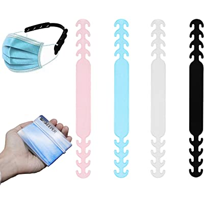 GOTONE 8PCS Extensor de mascarilla Antideslizante Clips de oreja Gancho de extensión de la banda adjustable Correa elástica, 4pcs bolsillo de almacenamiento+4pcs extensor (color aleatorio)