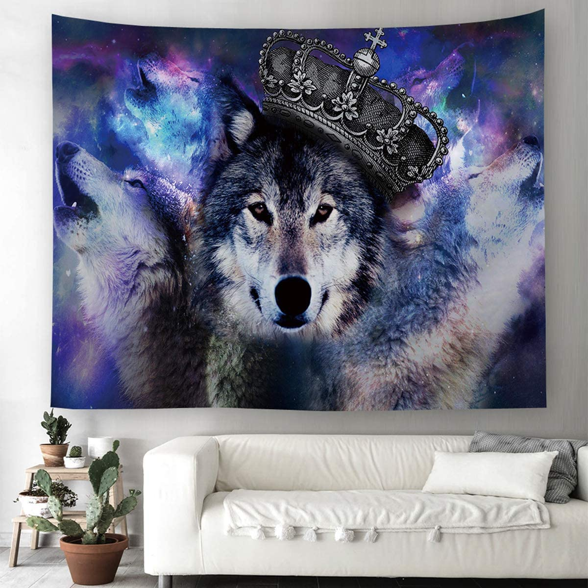 "Shukqueen Wolf King Painting Wall Hanging Tapestry with Romantic Pictures Art Nature Home Decorations for Living Room Bedroom Dorm Decor (60"" H x 80"" W)"