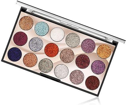 18 Colores de Sombra de Ojos de Paleta Brillante de Cosmético - Opción Ideal Para el Maquillaje - Se Puede Utilizar como Brillo de Labios #1: Amazon.es: Belleza