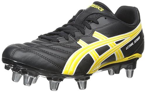 ASICS Men\u0027s Lethal Scrum Rugby Shoe, Black/Yellow/White, ...