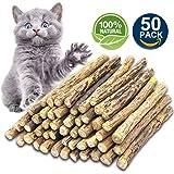 Matatabi Cat Catnip Sticks 25 Pcs or 50 pcs Cat Chew Sticks Dental Cleaning for Cats 100% Organic Silver Vine Dental Treats Molar Chew Toy Olfactory Enrichment