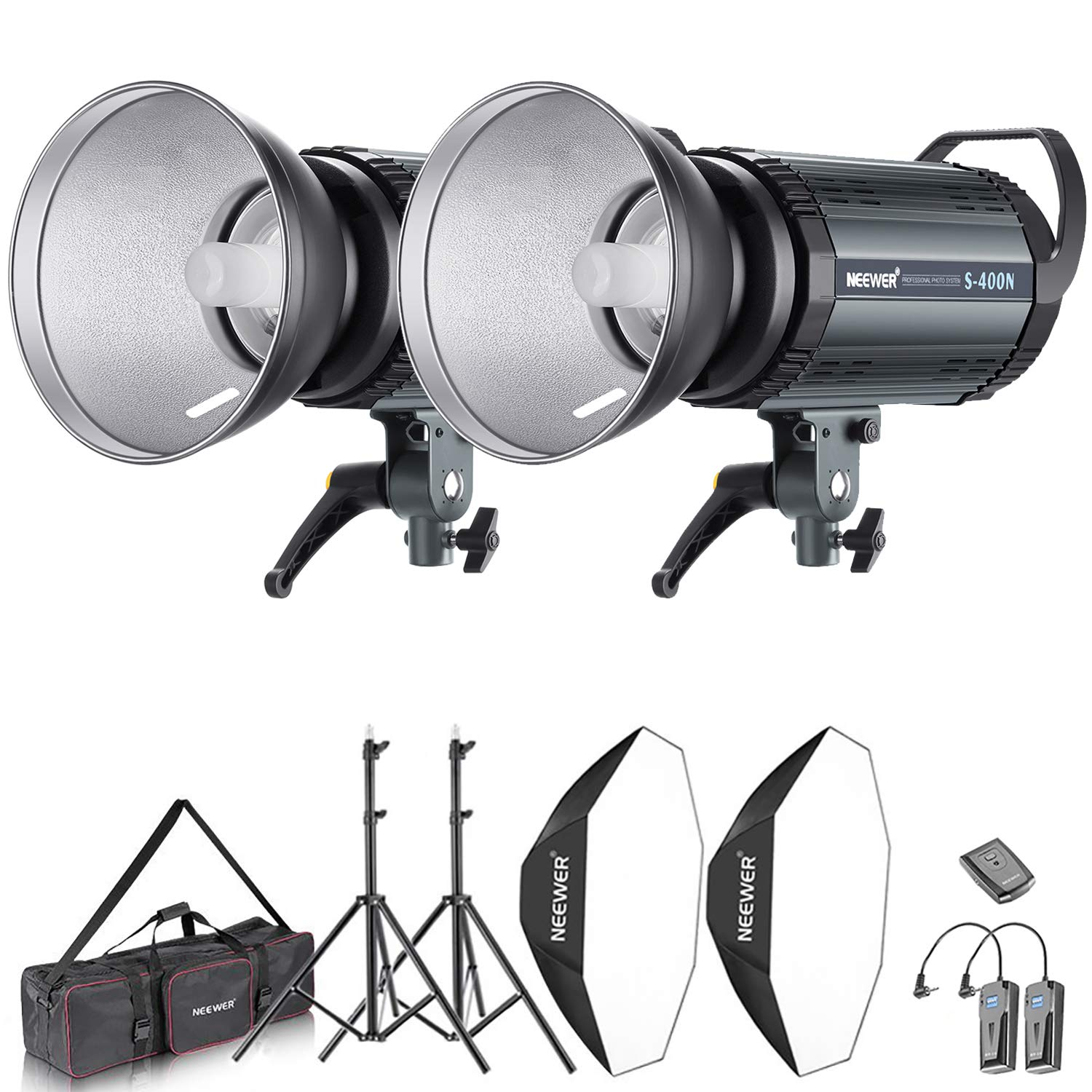 Neewer 800W Photo Studio Strobe Flash and Softbox Lighting Kit: (2)400W Monolight Flash(S-400N),(2)Reflector Bowens Mount,(2)Light Stand,(2)Softbox,(2)Modeling Lamp,(1)RT-16 Wireless Trigger,(1)Bag