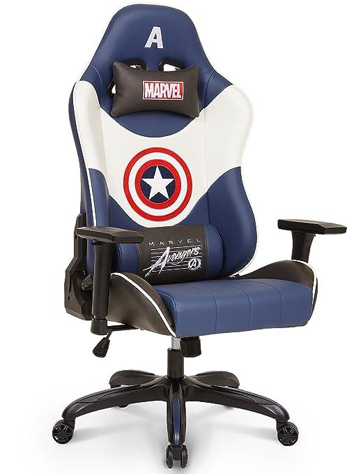 Marvel – Capitán América de Los Vengadores superhéroe ergonómico giratorio de espalda alta silla de escritorio