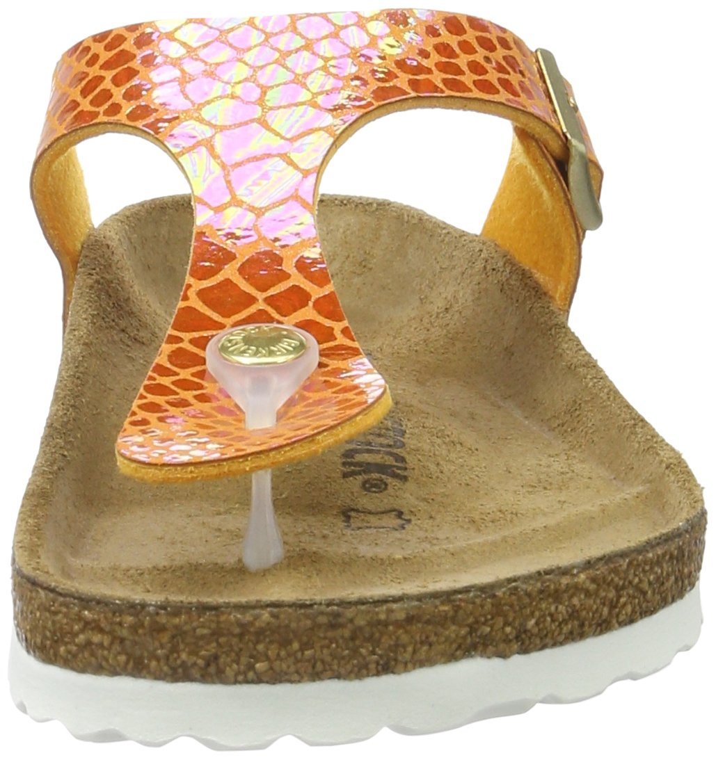 Birkenstock Gizeh Unisex Leather Sandals B01MU3HKMC UK 5/EU 38|Shiny Snake Orange (N)