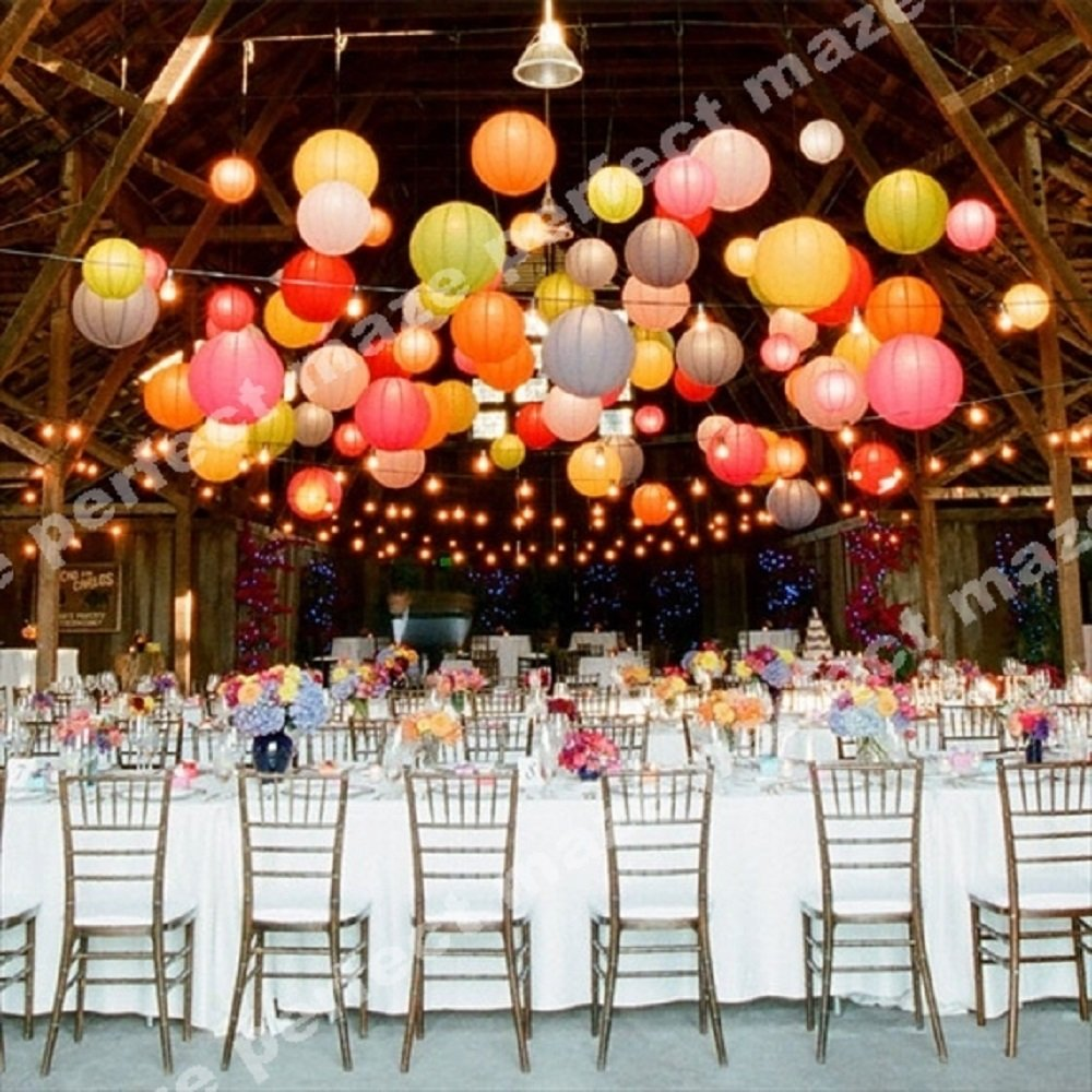 Perfectmaze 12 piece set 12 inch White Round Chinese Paper Lantern with Led for Wedding Party Engagement Decoration by Perfect Maze (Image #3)