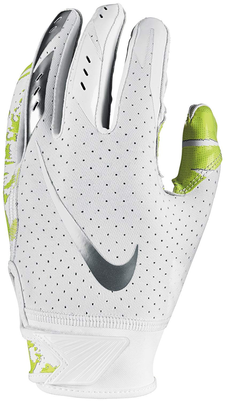 NIKE Boys Vapor Jet 5.0 Football Glove White/Chrome Size Small