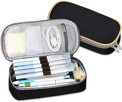 Multifuncional Estuche de lápices estuches escolar Adolescente, Bolsa de Lápiz Portable Lapicero, Estuche Escolar de Gran Capacidad (Negro): Amazon.es: Oficina y papelería
