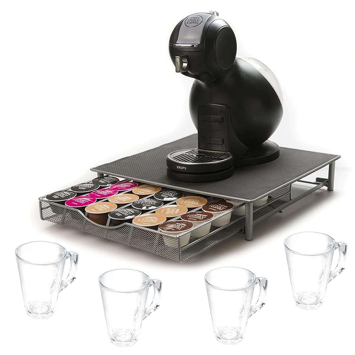 Direct Online Houseware RKW2514-G/RKG2248-S4 Coffee Capsule Drawer and Glasses Set, Grey