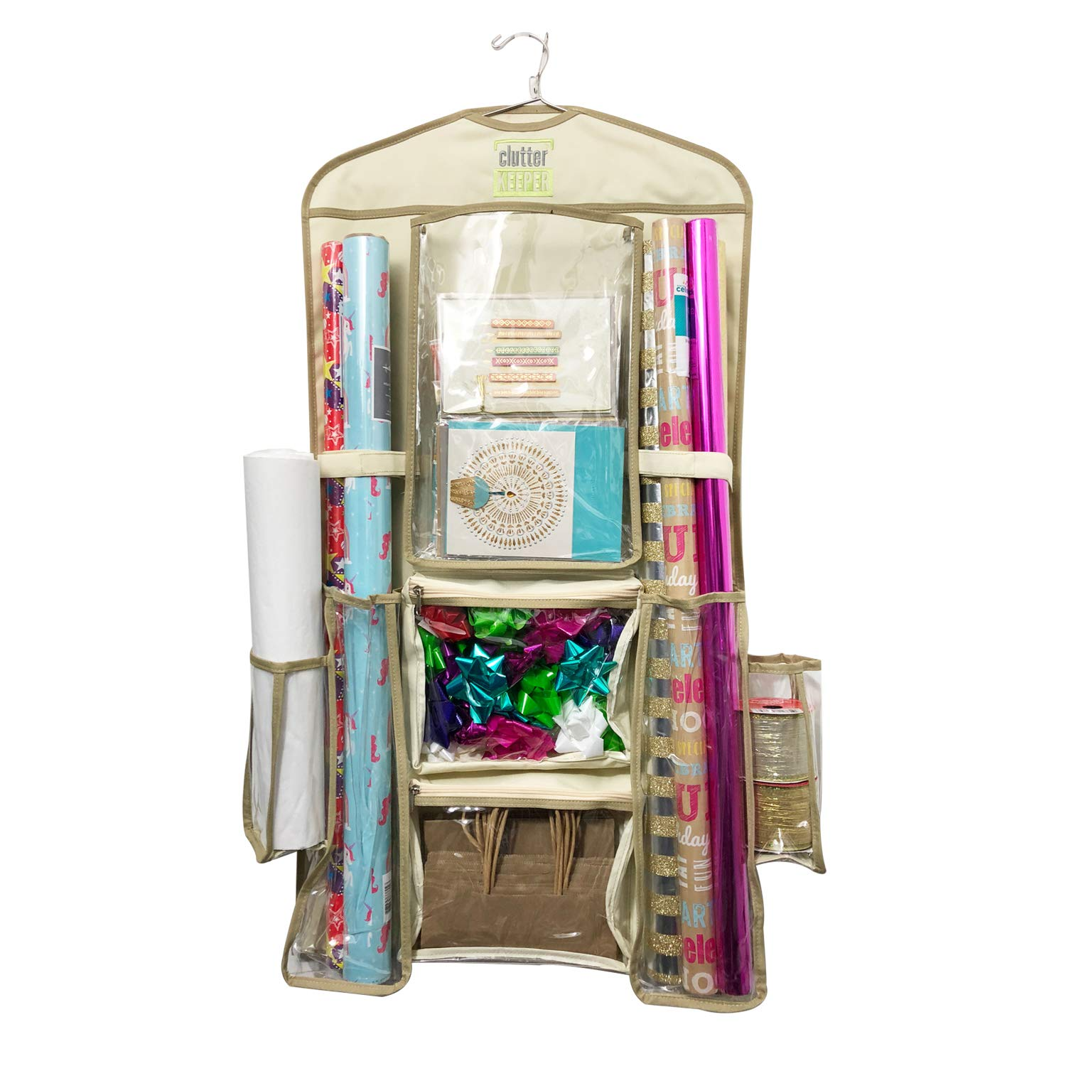Clutter Keeper Deluxe Hanging Gift Wrap Storage Organizer by Clutter Keeper