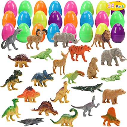 CUTE STONE 24 Pack Filled Easter Eggs with Dinosaurs and Animals, Easter Basket Stuffers Easter Party Favors for Kids
