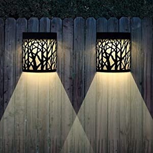 Solar Wall Lights Outdoor Decorative, Hollow Black Forest Lighting, 2 Modes, Black, 2 Pack