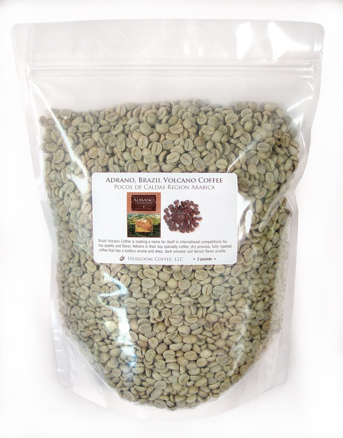 Brazil Adrano Volcano Coffee, Green Unroasted Coffee Beans (3 LB) by Heirloom Coffee LLC