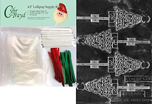 Amazon Com Cybrtrayd Tree With Angel Lolly Christmas Chocolate Mold With Lollipop Kit And Molding Instructions Includes 50 Lollipop Sticks 50 Cello Bags 25 Red And 25 Green Twist Ties Candy Making Molds
