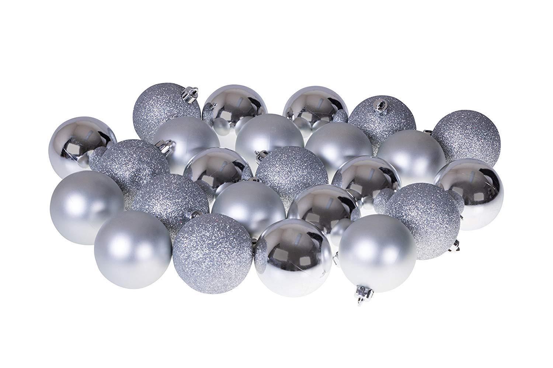 Plata, 4 cm /Ø DomoWin Bolas de Navidad Bolas para /árbol de Navidad Decoraci/ón de Bolas de Navidad Inastillable Decoraci/ón del /Árbol De Navidad Set de 24 Bolas